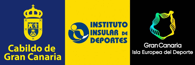 Logos del Cabildo de Gran Canaria, Instituto Insular de Deportes, y Gran Canaria, Isla Europea del Deporte